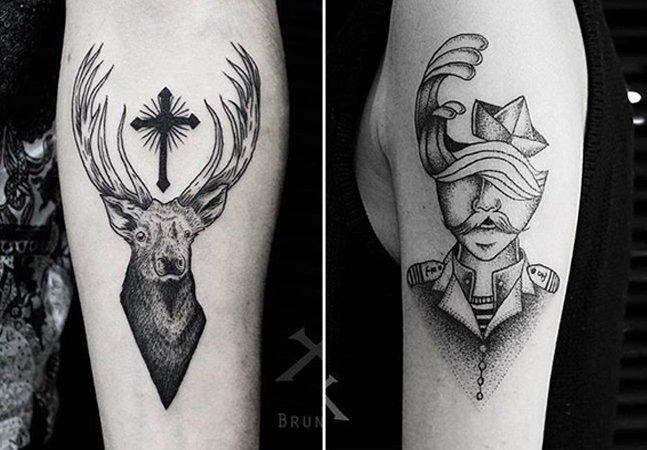 Tatuador brasileiro usa surrealismo e formas geométricas em blackwork incrível