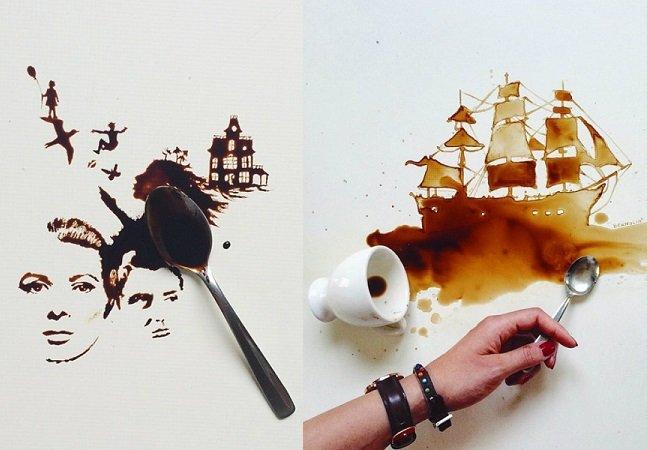 Café derramado se torna obra de arte nas mãos dessa artista