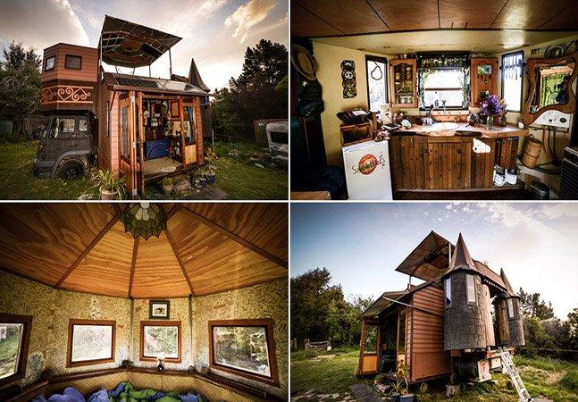 Casal transforma trailer em uma incrível casa móvel em formato de castelo