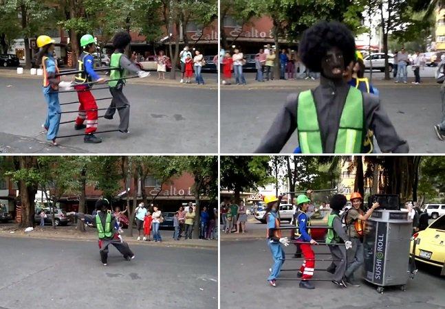 Artista de rua diverte o público dançando música de Michael Jackson como se fosse 3 personagens