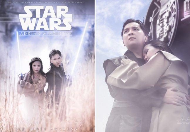 Noivos apaixonados por Star Wars participam de ensaio fotográfico épico
