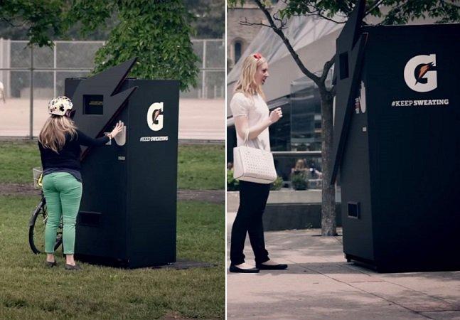 Por que esta vending machine só funciona com suor