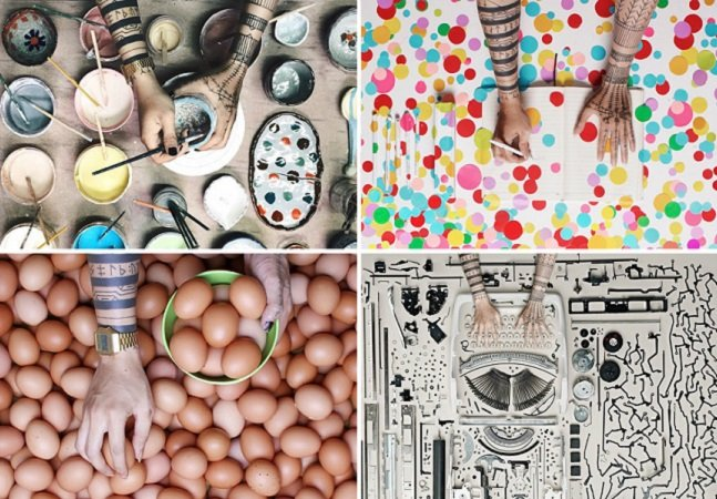Série de fotos mostra mãos de artistas enquanto eles criam