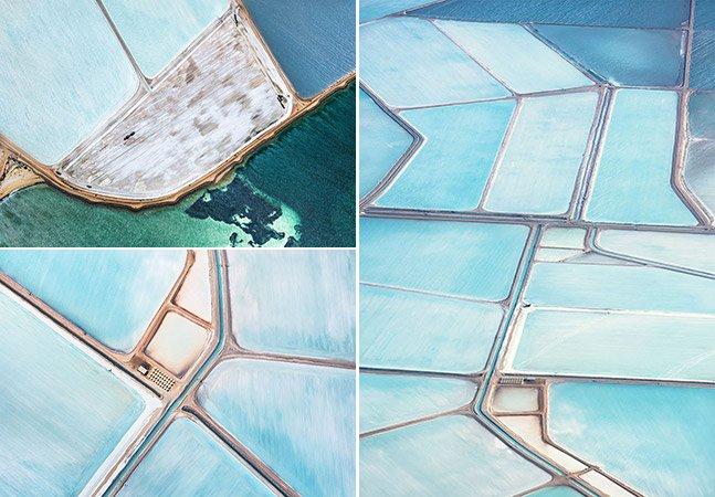 Os campos de sal na Austrália que parecem pinturas vistos de cima