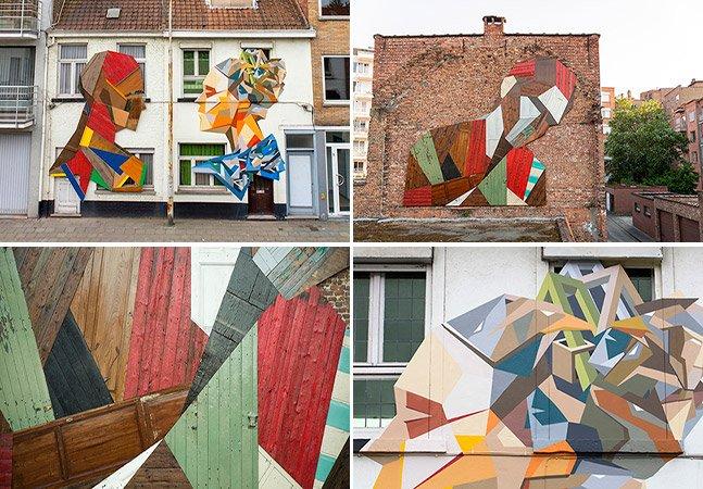 Artista belga compõe murais com portas que iriam para o lixo