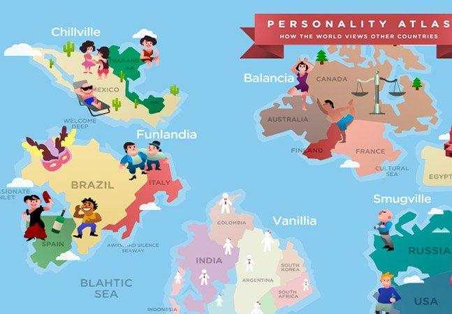 Mapa divertido divide países a partir dos estereótipos pelos quais são conhecidos