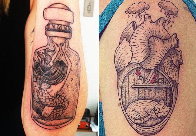 Tatuadora brasileira aposta no pontilhismo para criar tatuagens incríveis com temática lúdica