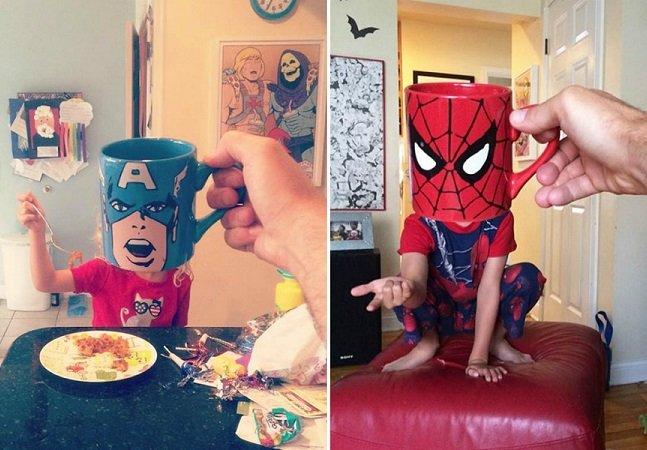 Pai criativo usa coleção de canecas de super-heróis para se divertir com os filhos