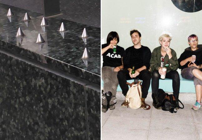 """Artistas usam criatividade para protestar contra pregos """"anti-moradores de rua"""" em Londres"""