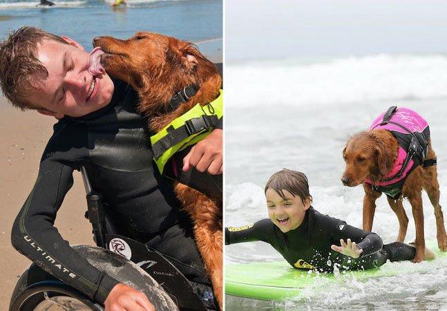 A cadelinha inspiradora que surfa com pessoas com deficiência para lhes levar esperança