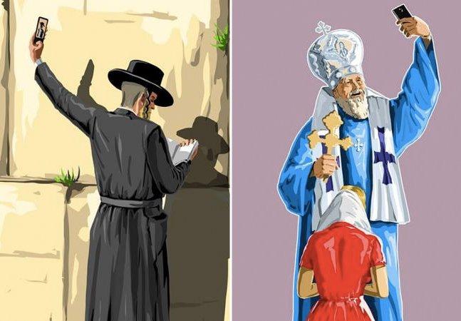 Série de ilustrações polêmica mistura selfie e religião