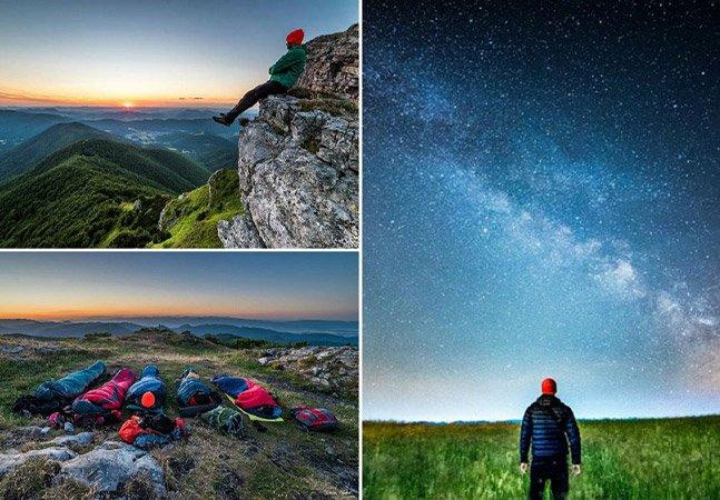 O jovem que não gosta de dormir em casa e por isso clica suas incríveis noites nas montanhas