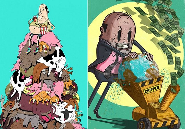 Ilustrador usa talento (e muito sarcasmo!) para criticar as sociedades modernas