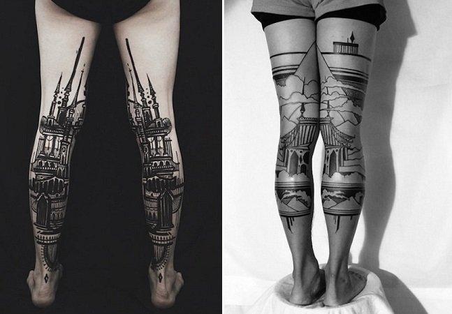 O tatuador que transforma as pernas de seus clientes em incríveis paisagens