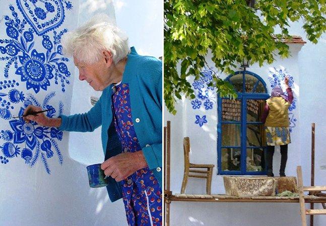 A mulher inspiradora que aos 87 anos não desiste do seu hobby de pintar casas