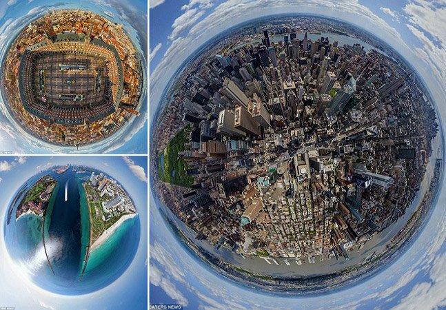 Vivendo na bolha: série de fotos mostra cidades famosas em formato de pequenos planetas
