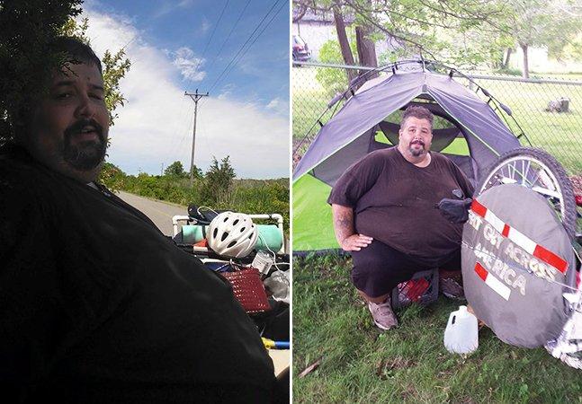 Homem com obesidade mórbida cruza os EUA de bike para perder peso e salvar o casamento