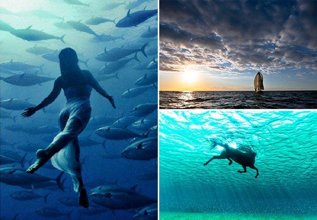 Fotógrafo cria fantásticas fotos de suas aventuras velejando em alto mar