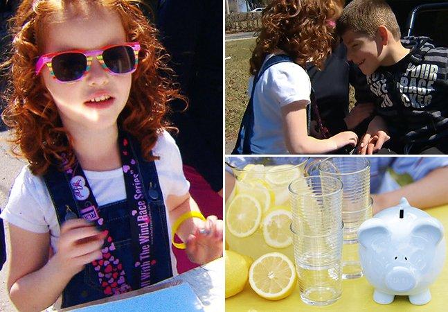 A menina de 5 anos que está vendendo limonada na rua pra ajudar a encontrar a cura pra doença do irmão