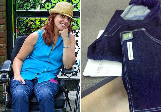 Jovem paraplégica cria jeans estilosos e confortáveis para cadeirantes