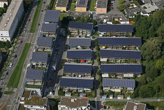 Solarhaussiedlung im Freiburger Stadtteil Vauban