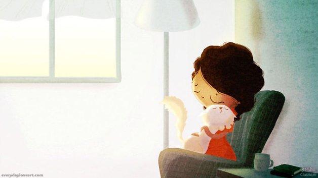Illustration of girl cuddling cat