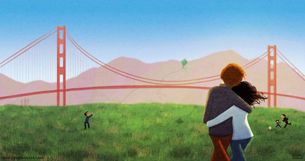 Illustration of couple looking at Golden Gate bridge
