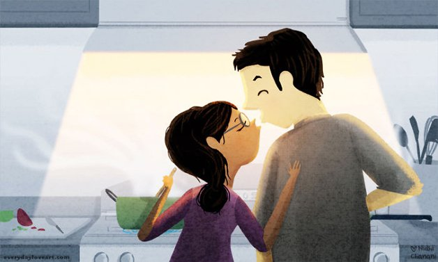Illustration of couple cooking together