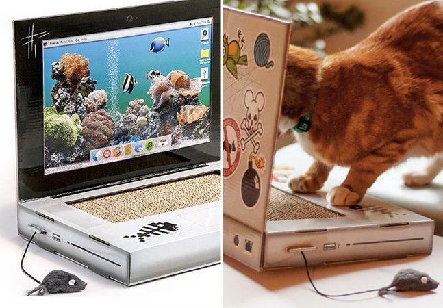 Marca cria laptop para gatos com teclado arranhador para evitar que eles destruam o seu
