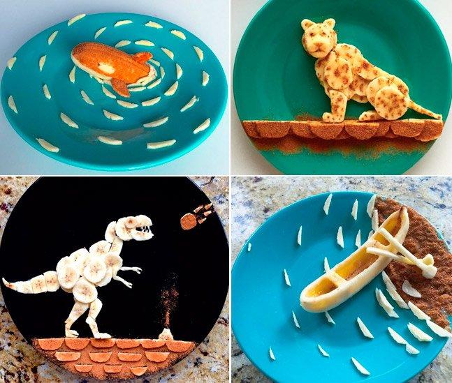Pai criativo faz arte com bananas  para o café da manhã da filha de 3 anos todos os dias