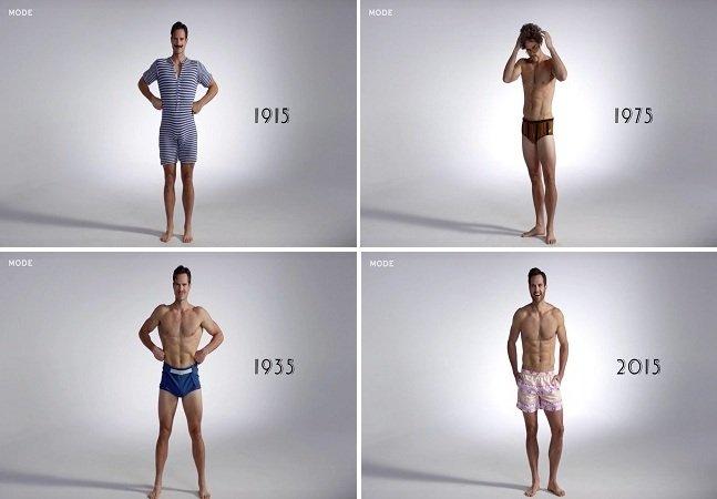 Vídeo mostra como roupas de banho masculinas evoluíram em 100 anos