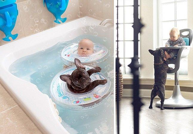 Mãe cria série fotográfica mostrando amizade entre bebê e bulldog que nasceram no mesmo dia