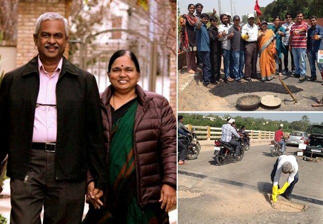 Indiano usa dinheiro da aposentadoria para tapar buracos de rua