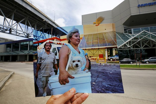 The print shows a woman arriving with her dog at a collection point for victims of Hurricane Katrina, September 8, 2005.