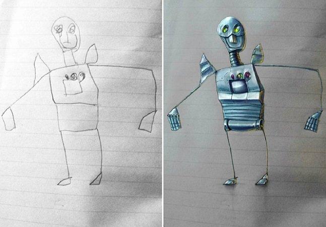 Artista transforma os desenhos do filho em brilhantes ilustrações