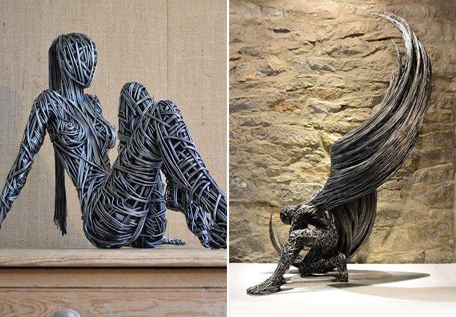 Britânico esculpe impressionantes obras de arte com arame