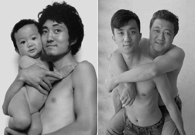 Pai e filho tiram mesma foto  durante 28 anos
