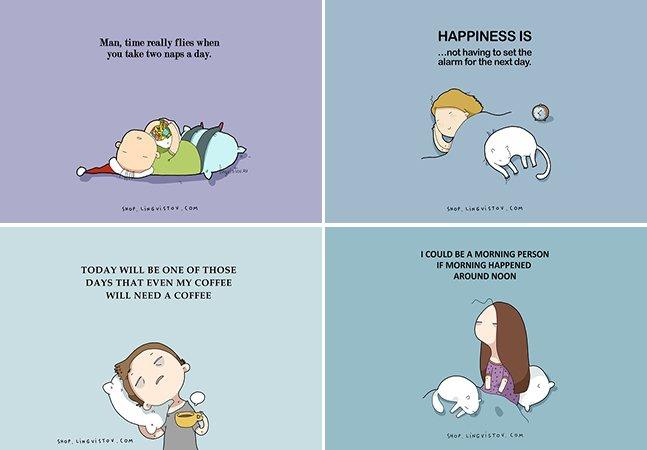 Ilustrações divertidas mostram  situações que só quem ama  dormir vai entender