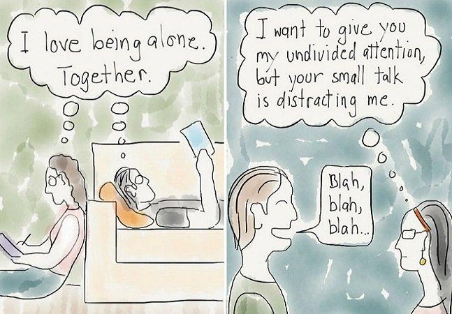 Ilustrações divertidas mostram o drama que todo introvertido vive