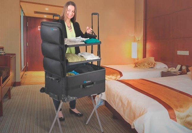 Mala que se transforma em armário promete facilitar a vida dos viajantes