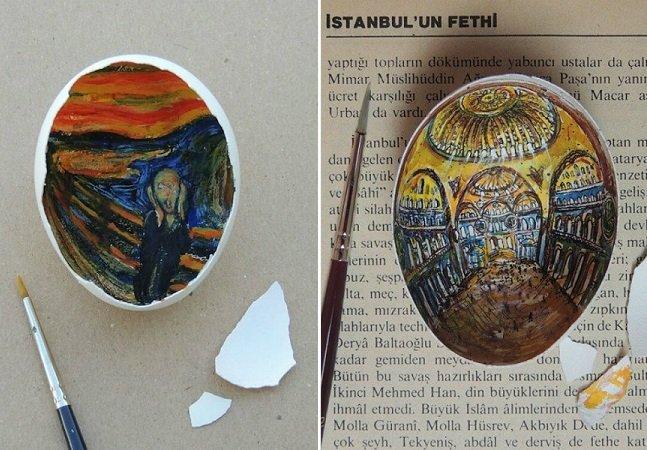 Artista cria fantásticas<!--second-liene--> artes em cascas de ovo