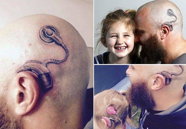 Pai faz tatuagem de aparelho auditivo igual ao da filha para que ela não se sinta diferente