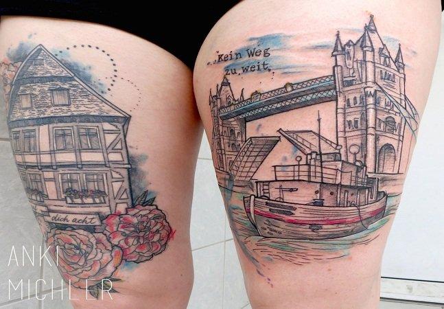 Tatuadora mixa esboços e técnicas de aquarela para criar belas artes na pele