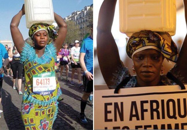 Mulher faz maratona com balde na cabeça pra mostrar distância que percorre na África pra ter água potável