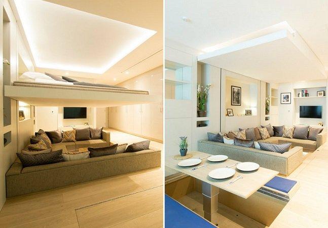 Cama desce do teto e transforma sala em quarto em segundos
