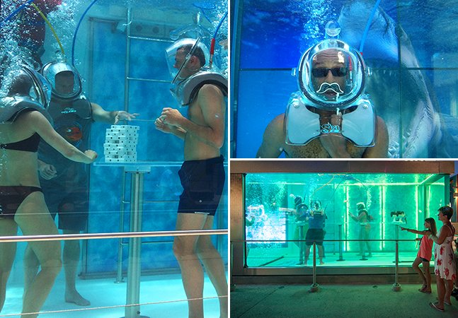 O primeiro bar subaquático do mundo onde os visitantes usam máscara de oxigênio para inalar as bebidas