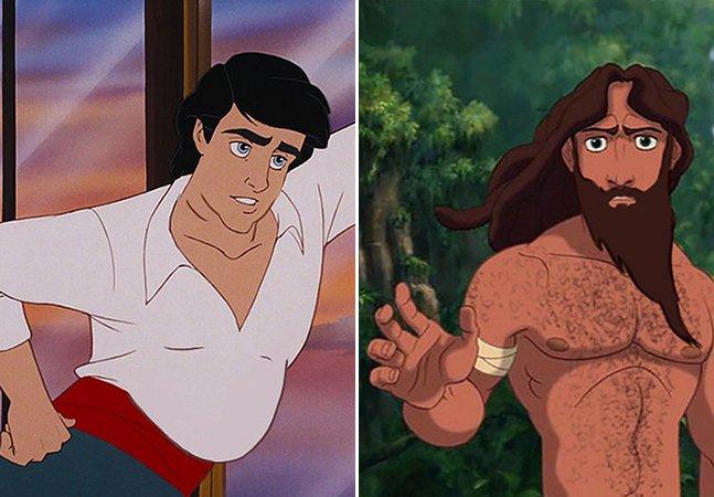 Ilustrações mostram como seriam os príncipes da Disney com corpos comuns