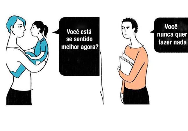Ilustrações mostram a diferença entre o que você diz para uma pessoa com dor crônica e aquilo que ela entende