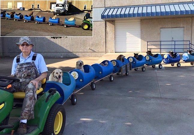 Homem de 80 anos constrói trem para poder passear com seus nove cachorros resgatados das ruas
