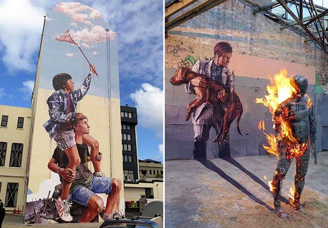 Artista cria murais gigantes carregados de mensagens e crítica social